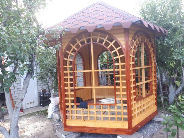 Беседка шестигранная из дерева купить Харьков